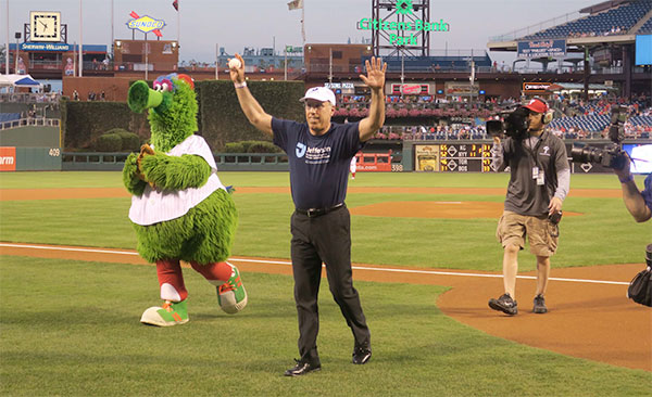 Chancellor Spinelli Throws Out First Pitch at Phillies Game